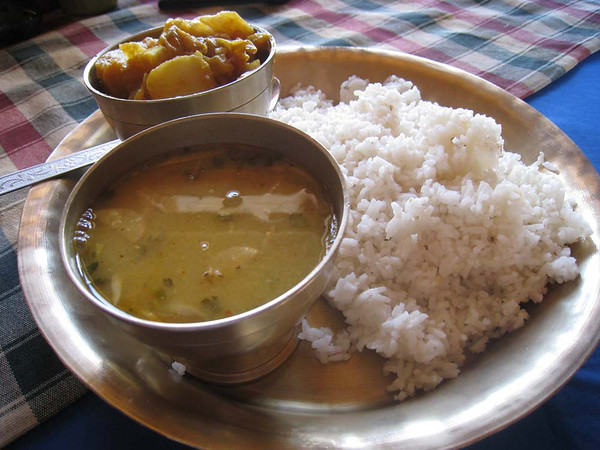 We ate the Nepali traditional meal of dal bhat (lentils, rice, and curried vegetable) twice a day, every day